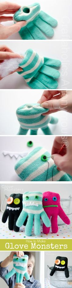 Glove Monsters – looks easy enough for even someone with no sewing skills, I would make a rice bag version. Glove Monsters – looks easy enough for even someone with no sewing skills, I would make a rice bag version. Sock Crafts, Fabric Crafts, Fun Crafts, Sewing Crafts, Sewing Projects, Sewing Toys, Sewing Tutorials, Sewing For Kids, Diy For Kids