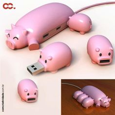 Mamãe porco Hub USB e seus pen drives porquinhos! Fofo!