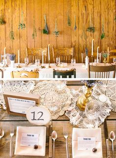 bashplease ~ simple rustic decor ... like the idea of thank you notes at each setting and the framed explanation behind the event's theme