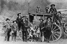 """""""Buffalo Bill"""" Cody in front of the Deadwood Stagecoach. Nelson, scout and driver sit on top with two of his Sioux children. Jule Keen, treasurer of Wild West Show, sits on back. Buck Taylor and Bronco Bill stand in front. Westerns, Old West Photos, Wild West Show, Wild West Cowboys, Into The West, Cowboys And Indians, Real Cowboys, American Frontier, Le Far West"""