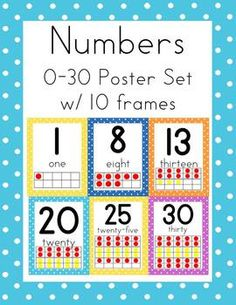 $2.00 I have expanded this set to 30!!  I have also updated the font to primer print.  Liven up learning numbers 0-30 with this polka dot set of numb...