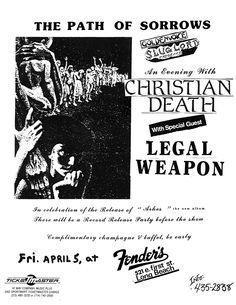 Apr 5, 1985. Fender's Ballroom, Long Beach. Christian Death, Legal Weapon.
