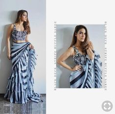 Excited to share this item from my shop: designer georgette ruffle saree Trendy Sarees, Stylish Sarees, Fancy Sarees, Dress Indian Style, Indian Dresses, Indian Outfits, Saree Gown, Saree Blouse, Dhoti Saree