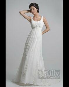 Princess Gown with Empire waist  Nice V-neck Halter with Elegant Beading Semi-Cathedral Train Beach Chiffon Wedding Dress SSD00fqq