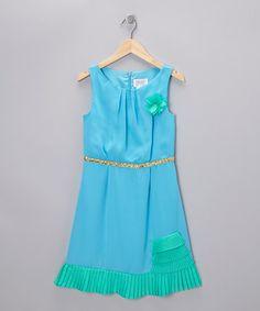 Take a look at this Aqua & Jade Ruffle Dress by Blush --Pretty!!!!