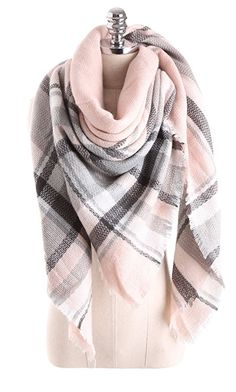 Beautiful soft pink plaid blanket scarf