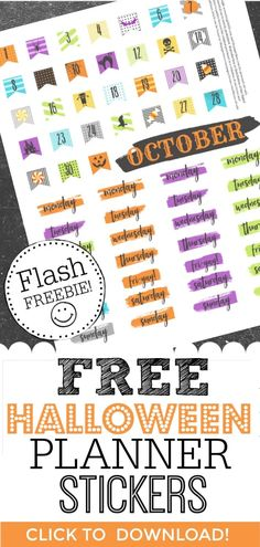 Printable Free Halloween Stickers for Your Happy Planner - Site adı Printable Sticker Paper, Printable Planner Stickers, Printable Crafts, Free Printables, Free Planner, Happy Planner, Planner Ideas, Planner Diy, Planner Layout