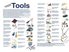 witches tools | Magickal Tools Easy Guide Poster. nice list.
