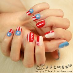 Aliexpress.com : Buy 2013 new cute stars short design false nails,High Quality Flag acrylic fake nail,24pcs,free shipping from Reliable false nail extensions suppliers on Jessie's shop. $6.86