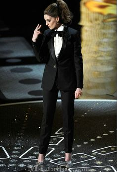Anne Hathaway - she's got the tux and the 'tude