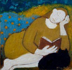 Lendo à tarde Helen Tabor (Escócia, contemporânea) óleo sobre tela, 25 x 15 cm