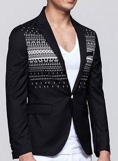 Amazing Black Blazer With Fashionable White Geometric Pattern