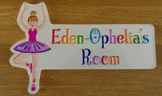 Custom Made Personalised Acrylic Children's Bedroom Door Name Plate by…