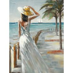 Tableau Femme regardant la mer 90x120 Peinture acrylique