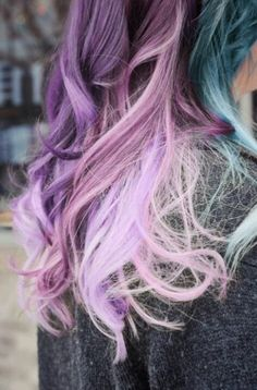 Purple pink blue hair