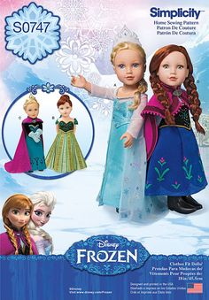 Visit the pattern department in store to browse our patterns available in store.Get the complete Anna and Elsa costume collection for 18inches dolls. Pattern includes Anna and Elsas coronation gowns,