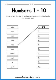 A collection of ESL worksheets to teach numbers in English. Great for kids and beginner ESL students. Download and use in class today! Esl Worksheets For Beginners, Numbers 1 10, Numbers For Kids, Teaching Numbers, Matching Worksheets, English Language Learners, Counting, Student, Writing