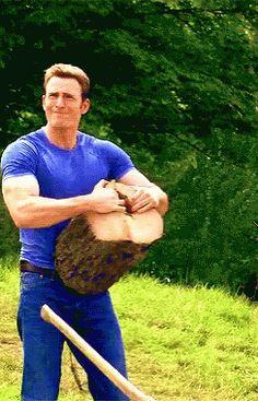 Chris Evans Captain America GIF - ChrisEvans CaptainAmerica WoodChopping - Discover & Share GIFs
