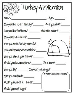 Turkey Application for thanksgiving activity