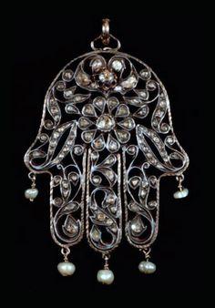 Morocco | Khamsa pendant; silver, gilt silver, diamonds and baroque pearls | 19th century |  2 000€ ~ sold (June '13)