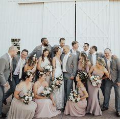 Bridal Party Groomsmen Grey 19 Ideas For 2019 Blush And Grey Wedding, Taupe Wedding, Neutral Wedding Colors, Purple Wedding, Grey Suit Wedding, Blush Bridal, Spring Wedding, Grey Bridal Parties, Wedding Parties