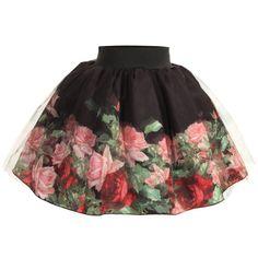 Love Made Love Black Tulle Skirt with Roses Print at Childrensalon.com