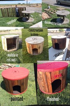 Hen house made from a wire spool and pallets.