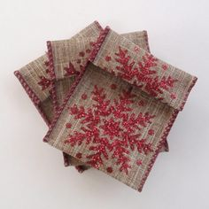 Jewelry Bead Pouches  14 Snowflake Red Glitter by ksewingbasket