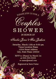 """Couples Shower Gold Burgundy floral Sparkle Invitation. Size: 5"""" x 7"""" Make custom invitations and announcements for every special occasion! Choose from twelve unique paper types, two printing options and six shape options to design a card that's perfect for you. Size: 5"""" x 7"""" (portrait) or 7"""" x 5"""" (landscape) Standard white envelope included Add photos and text to both sides of this flat card at no extra charge Use the """"Customize it!"""" CLICK IMAGE FOR MORE DETAILS. Couples Wedding Shower Invitations, Custom Invitations, Colored Envelopes, White Envelopes, Natalie Jackson, I Do Bbq, Couple Shower, Envelope Liners, Special Occasion"""