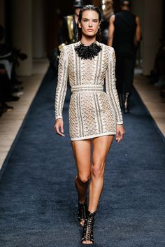 Balmain | Cruise/Resort 2016 Collection Preview at Spring 2016 Menswear Fashion Show via Designer Olivier Rousteing | Modeled by Alessandra Ambrosio | June 27, 2015; Paris
