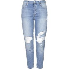 TOPSHOP TALL MOTO Ripped Hayden Jeans ($34) ❤ liked on Polyvore featuring jeans, pants, bottoms, topshop, mid stone, bleached jeans, distressed jeans, destroyed boyfriend jeans and blue jeans