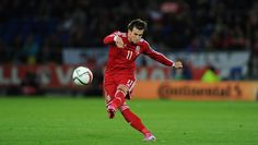 Wales player Gareth Bale in action during the EURO 2016 Qualifier match between Wales and Cyprus at Cardiff City Stadium on October 13, 2014 in Cardiff, Wales.