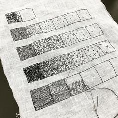 """The sample for our class """"Sketching with Thread - Exercises in Mark Making"""" . The sample for our class """"Sketching with Thread - Exercises in Mark Making"""" . The sample for our class """"Sketching with Thread - Exercises in Mark Making"""" is… Sashiko Embroidery, Embroidery Art, Embroidery Stitches, Embroidery Patterns, Creative Embroidery, Textiles Techniques, Embroidery Techniques, Drawing Techniques, Drawing Tips"""