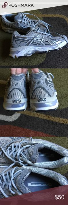 Asics gel evolution 6 sneakers🍁 Silver gray and white color🍁 very good condition 🍁 Asics Shoes Sneakers