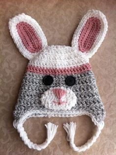 Sock Bunny Crochet Hat(: Perfect for spring! #sock #bunny #rabbit #spring #easter #crochet #hat $25 via Etsy.com