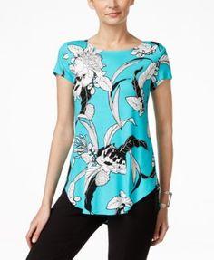 Alfani Floral-Print Round-Hem T-Shirt, Only at Macy's