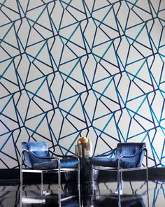 Sumi by Harlequin. The Momentum group of gravure-printed wallpapers includes Sumi, a large-scale brushed geometric, is a 27-inch-wide pattern that comes in five colorways.