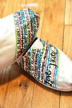 Painted TOMS - bible verse or favorite quote from a book