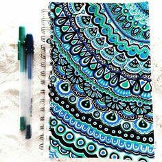 Mandala Drawn On Notebook Cover Mandala Doodle, Mandala Drawing, Tangle Art, Doodle Inspiration, Sharpie Art, Sharpies, Zen Art, Zentangle Patterns, Zentangles