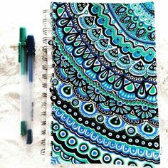 Zentangle design, cute blue notebook