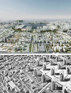 Above: OMA's master plan for Quinhai Port City, 2010 - Below, Le Corbusier's Ville Radieuse, 1935