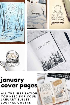 If you need some inspiration for your January cover pages we've got you covered! Bullet Journal Goals Page, January Bullet Journal, Bullet Journal Hacks, Bullet Journal Themes, Bullet Journal Inspiration, Bullet Journals, Journal Paper, Book Journal, Journal Ideas