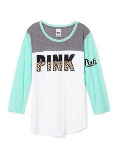 Colorblock Football Tee - PINK - Victoria's Secret