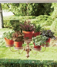 If you're looking for a beautiful way to hang your plants, an old chandelier might come in handy. You can simply repaint the chandelier with the colour of your choice, fix small pots at the end of each arm and hang them in your outdoor area. Some people choose to replace pots and upcycle more unused items such as tea cups. You can add other items such as a birdhouse (if you plan to hang it outdoors) or candles (just make sure the plants won't catch fire!). Be creative and use whatever...