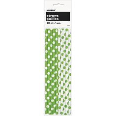10 Green and White Paper Straws for Party Packs, Food Crafts, Cake Pop Sticks, ETC