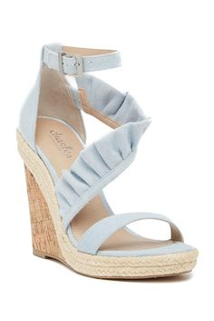Image of Charles By Charles David Brooke Denim Ruffled Espadrille Wedge Sandal