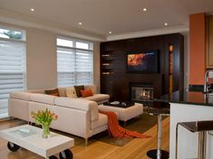 24 Small Living Room Designs with Modern Fireplace Living Room Orange, Living Room Modern, Small Living, Living Room Designs, Cozy Living, Home Theater Rooms, Home Theater Seating, Living Room Furniture, Living Room Decor