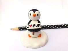 Gift for mum, penguin and I love mum sign, miniature pottery penguin, ceramic…