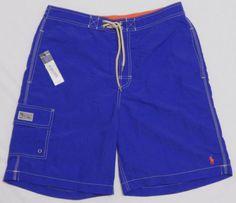 NWT-Mens-POLO-RALPH-LAUREN-Board-Shorts-MEDIUM-Blue-Mesh-Lined-Swim-Trunks