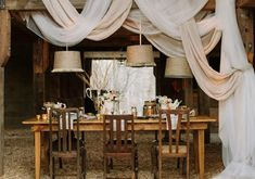 harvest table and draped fabric reception | Photo by Haley Sheffield